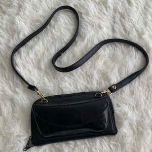 Vintage Black Leather Wallet w Sunglasses Holder